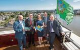Flying the flag for Limerick: New mayor Cllr James Collins launching the report by EY-DKM with Pat Daly, Ciara Morley, Neil Gibson and Michel Lemagnen