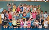 Happy campers: Kids at Bualadh Bos Summer Camp at the Lime Tree Theatre Picture: Adrian Butler