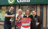 Darragh Neill, Gala supermarket Kilmallock celebrates his store selling a €100k Lotto ticket with staff members Jennifer O' Doherty and Faye Staunton, and customers Collette Madden and Rachel Connery