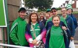 First in line! The first supporters who entered the Gaelic Grounds this Sunday afternoon