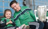 Anna Hickey, who celebrated her third birthday last week, with her dad Seamus, who brought the Liam MacCarthy Cup home to Murroe-Boher GAA Club Picture: Dave Gaynor