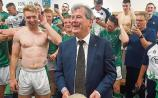 Limerick GAA sponsor JP McManus in the team dressing room after the All-Ireland