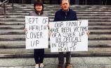 Pat and Nuala Geoghegan outside the Department of Health in Dublin this Wednesday