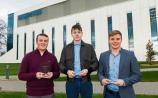 Receiving their awards from Regeneron are Lee O'Connor, Old Cork Road, Aaron Cummins, Templemore, and Conor O'Regan, Kilmallock