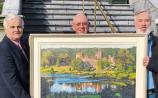 Mark Nolan, general manager of Dromoland Castle, artist Michael Hanrahan and Frank Reeves pictured at the painting's unveiling