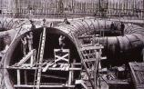 Workmen constructing the spiral castings as part of the Shannon Scheme in 1926