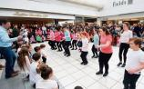 The Sean Nós flash mob organised by Bohermore NS and Pat O'Dea in the Crescent  Picture: Brendan Gleeson