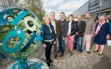 The creators of the sculpture with arts officer Sheila Deegan Picture: Alan Place