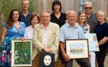 Art Limerick: The group pictured with some of their work at the Green Yard cafe at Punch's Cross this week Picture: Michael Cowhey