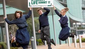 Lily O'Brien, Ross Cantillon and Lauren McKeogh from St Annes Community College at the launch of the summit Picture: Sean Curtin