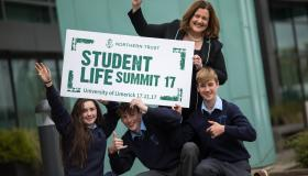 Catherine Duffy, GM of Northern Trust, and students gearing up for the StudentLife Summit Picture: Sean Curtin