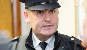 Superintendent Derek Smart briefing the media at Mayorstone Garda Station Picture: Press 22