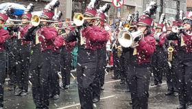 A tweet from Limerick Council showing snow accumulating on the instruments of bands marching in this Sunday's parade