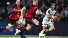 Keith Earls races clear in Munster's Champions Cup pool fixture with Racing 92