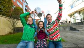 Hurler Shane Dowling with Anna Doody and Ryan Tubridy at the Strand Hotel Picture: True Media