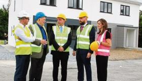 Mayor James Collins with Peter Skehan, Roadbridge, Michael Benn, Patrick Benn and Kristen Benn, Clenn Construction Picture: Adrian Butler