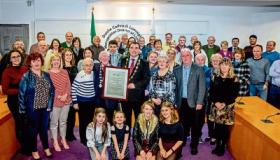 Pa Phelan, pictured with Mayor James Collins and his many bandmates, friends and family at his reception in City Hall