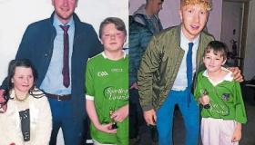 Declan Hannon with Anthony Maloney, who played Declan in the movie, and Grace O'Connor, who played his girlfriend Louise and right, Cian Lynch with Alex Neil, who played Cian in Hon the Treaty