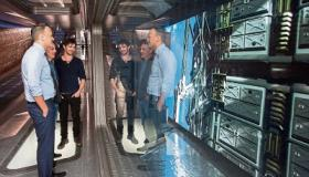 Taoiseach Leo Varadkar on the Nightflyers set at Troy Studios with Andrew McCarthy and cast member Eoin Macken Picture: Alan Place
