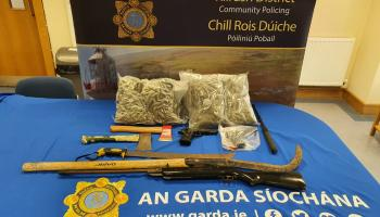 Two arrested following seizure of drugs, cash and weapons in Clare