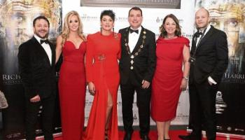 Mayor of Limerick City and County Cllr James Collins and his wife Eileen, centre, at the gala awards night with Zeb Moore, Muireann Dennehy, Sylvia Moore and Rob Gill