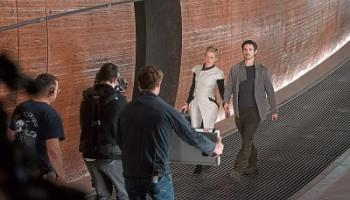 Behind the scenes with lead actors Gretchen Mol and Eoin Macken on the set of Nightflyers at Troy Studios Picture: Netflix