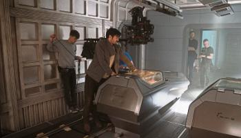 Eoin Macken, the star of Nightflyers, on set during filming at Troy Studios in Castletroy Picture: Netflix