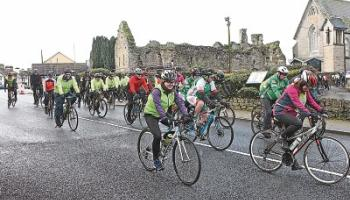 Cyclists setting off at the start of the Doll's Charity Cycle from Hospital GAA Club in aid of the Irish Pilgrimage Trust who take 500 children to Lourdes each year Picture: Dave Gaynor