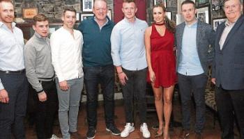 Conal Kelly Jnr, Mark Enright, Graeme Mulcahy, Mick Galwey, Joe Canning, Aislinn Connolly, Oisin McConville and Conal Kelly at the A League of Their Own