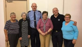 Phyllis Holmes, Anne Hourigan, Garda Tom McGlinchy, Kathleen Gunning, chairperson, Garda Brian McNamara, Kathleen Cusack