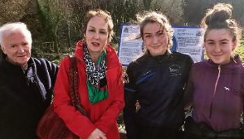 Dee Dennison, Abbeyfeale Men's Shed, Zara O'Driscoll, West Limerick Tourism and Hazel and Ella FitzGerald at the heritage plaque unveiling at Purt Castle