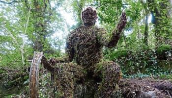 Nature flows through sculpture on river in Limerick village