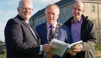 CEO of Limerick Twenty Thirty (LTT) David Conway with Mayor Stephen Keary and Aidan Malone, project manager, LTT, announcing the plans