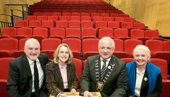 Brendan Lane, then Chair of the Lime Tree board, Louise Donlon, Lime Tree manager, then Metro Mayor Cllr Jerry O'Dea and Sheila Deegan, Arts Officer, signing the agreement in 2015