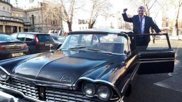 WATCH: Back seat for gas guzzler while train takes strain as new Limerick TD arrives at Dail