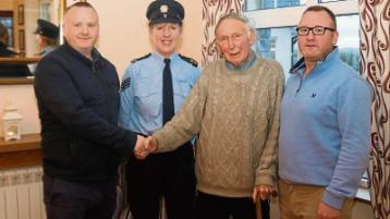 """Sgt Helen Holden praises Eugene and Marcus Ryan """"Alec"""", Doon, who pulled Paddy McCarthy, Cappamore, out of a burning car Picture: Michael Cowhey"""