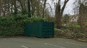 The container that was broken into in the County Limerick village