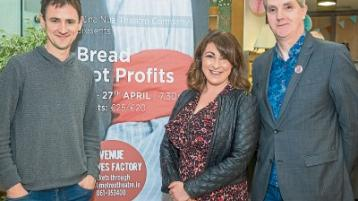 At the launch of Bread not Profits, musician David Blake, one of the cast members Georgina Miller and playwright Mike Finn Picture: Keith Wiseman