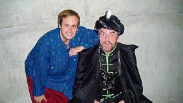 Nigel Dugdale and late John Finn pictured in 2011 during the Limerick Panto Society's production of Aladdin