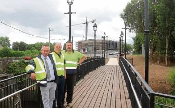 Gerard O'Connor, senior engineer, Limerick City and County Council, Cllr Mike Donegan and Max Hennessy pictured at the new bridge