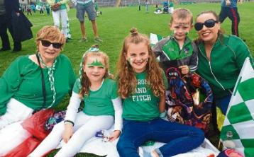 Trish Collings, the niece of Mick Mackey with Faye, Millie and Archie his great grand nieces and nephews and their mum Yvonne O'Sullivan, his grand niece.