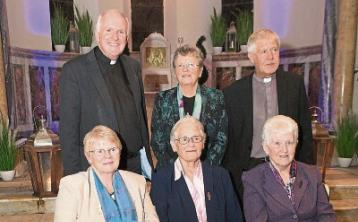 Bishop Brendan Leahy, Brid Liston, FCJ Leader in Europe and Fr John Daly PP, Bruff at a farewell function for Sr Geraldine Lennon, Sr Veronica Carey and Sr Mary Breen