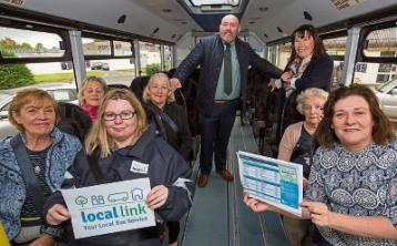 Local Link staff members Linda Sheehan and Marie O'Connor with driver Paudie Kenneally and Cinema Club members, Joan O'Toole, Betty Madigan, Ann Brennan, Alice Vereker and Norma Prendiville