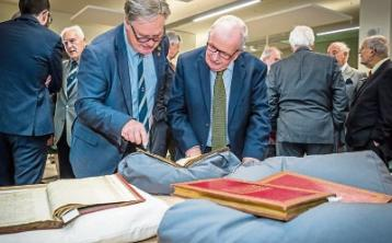 Edmund Pery, Earl of Limerick and Dr Des Fitzgerald, President of UL, looking over the papers Pictures: Keith Wiseman