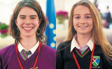 Céití Ní Mhathúna and Megan Ni Laighin have been chosen out of 350 applicants to attend the event