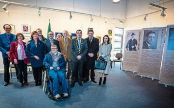 Family members of Con Collins, Michael Colivet and Dr Richard Hayes with Mayor James Collins at County Library commemoration Picture: Keith Wiseman