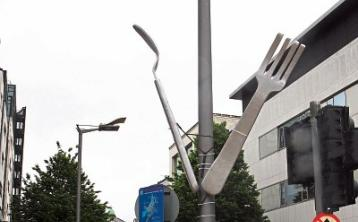 Installation of giant street cutlery in Limerick causes a stir online
