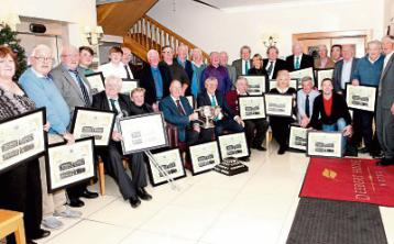 The large group, including former players, who received framed mementos for themselves, passed loved ones and those who couldn't attend the night Picture: Dave Gaynor
