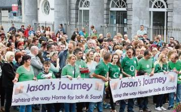 A vigil in Limerick in 2015 to raise funds and awareness for the safe passage of Jason's children Jack and Sarah who were still the subject of a custody battle at the time