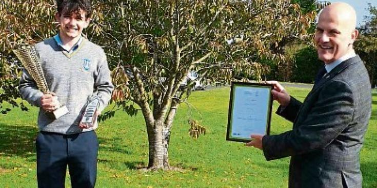 Student Kieranwins award after'transmitting' his idea to judges